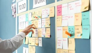 A photo of a post-it note board