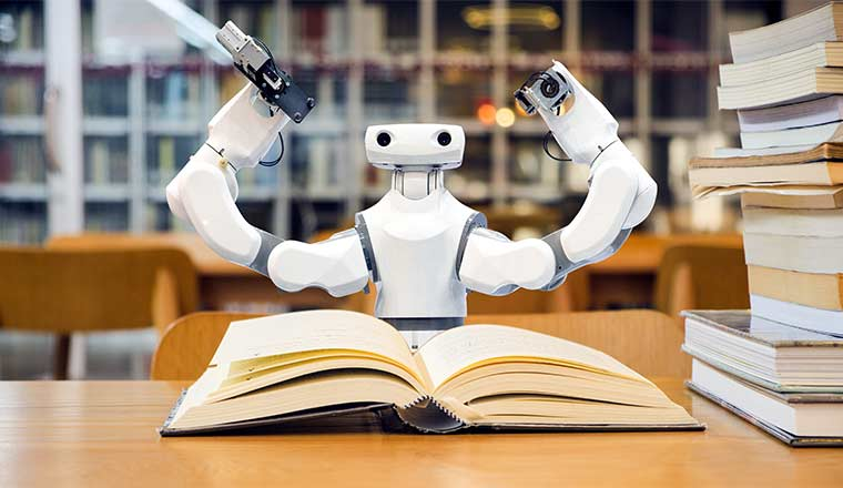 A photo of a robot reading books