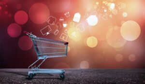 A picture of a shopping trolley with lots of digital products