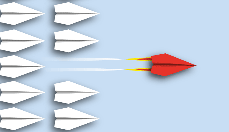 A picture using paper planes to demonstrate efficiency