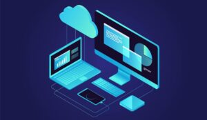 A picture of a desktop and laptop under a cloud