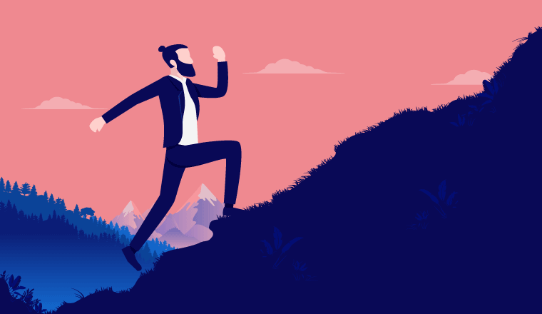 A picture of someone walking up a hill