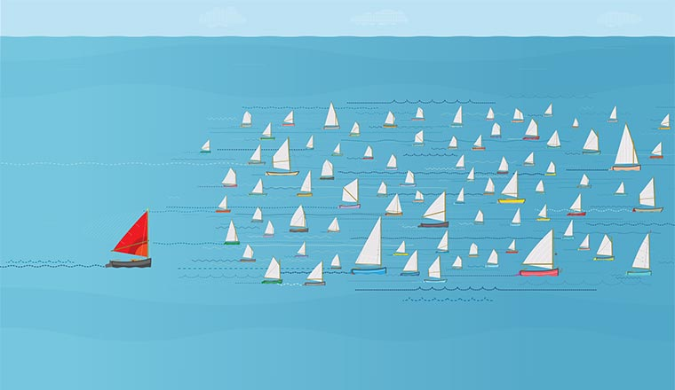 A picture of a yacht race