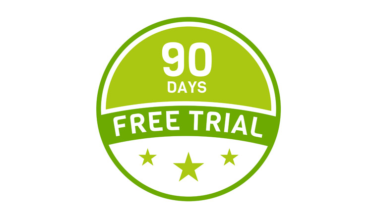A picture of a 90 day free trial badge