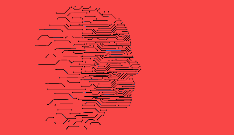 A picture of AI lines forming a human head