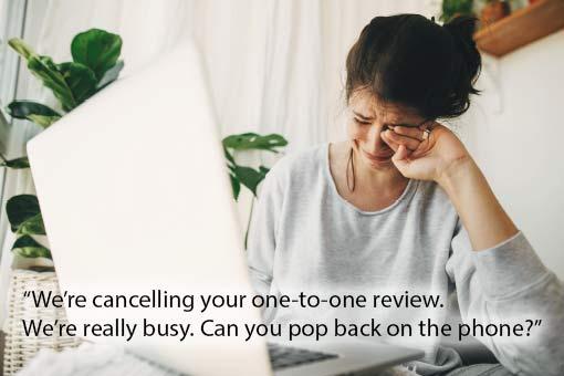call centre meme about performance reviews