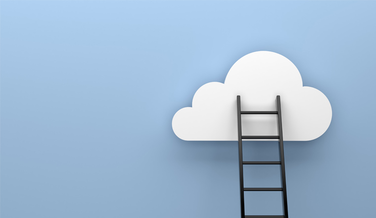 A picture of a ladder reaching up to a cloud