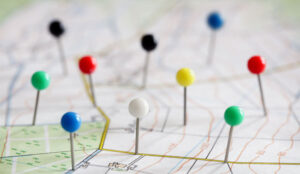 A picture of a map with destination pins