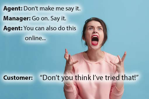 call centre meme about customer frustration