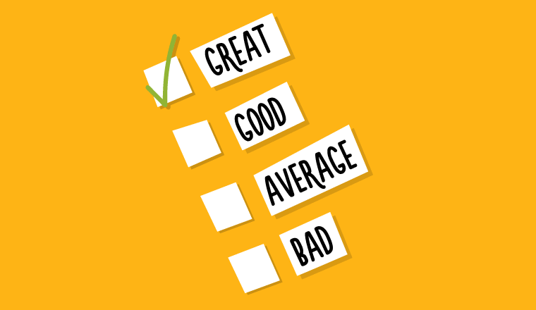 A picture of a great to bad checklist