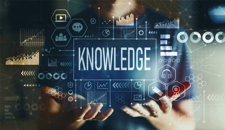 A picture of a business data infographic and the word Knowledge