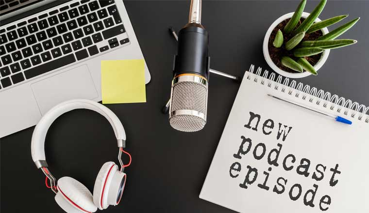 A picture of a podcast work station