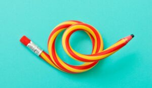red and yellow twisted pencil