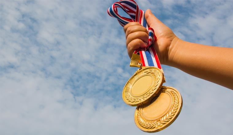 A picture of two medals