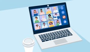 A picture of a video conference call