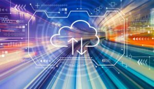 A picture of a digital cloud and data