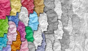 coloured paper faces fading out