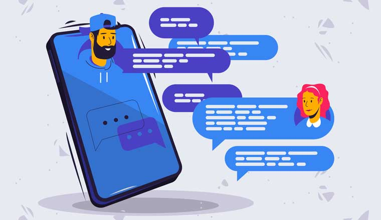 An illustration of a phone with speech bubbles