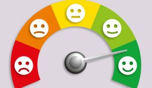 A picture of a dial of emotions with an arrow pointing