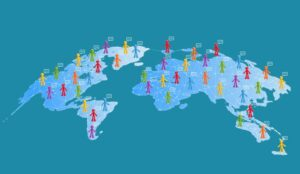 A picture of a map with small colourful people spread over it