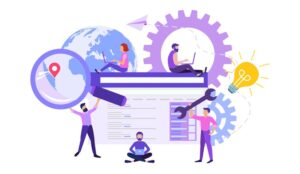 An illustration of people working on website creation