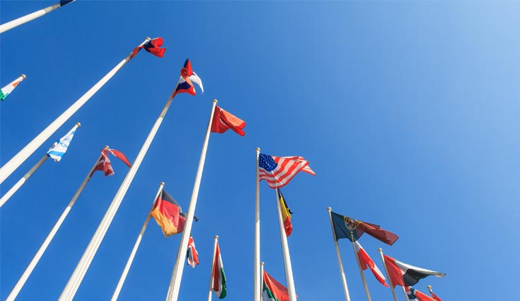 A picture of multinational flags