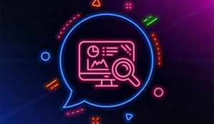 A picture of a speech bubble containing data charts