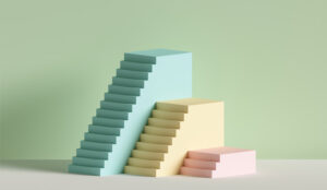 A 3D image of yellow, blue and pink steps