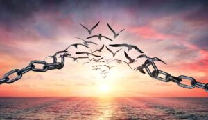 A picture of a chain transforming into birds flying away into a sunrise