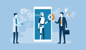 An illustration of AI in a phone talking to a person, whilst another adds settings