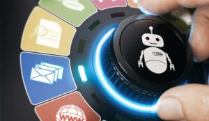 A picture of a robot on a dial being turned towards icons representing automated tasks