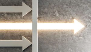 A picture of a glowing arrow penetrating a barrier