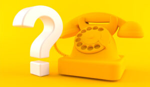 A picture of a phone next to a question mark on a yellow background