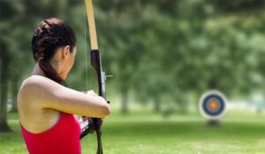 A picture of a person doing archery