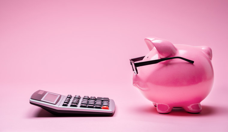 A picture of a piggybank and a calculator