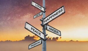 Emotions on directional signpost, with sunrise sky backgrounds