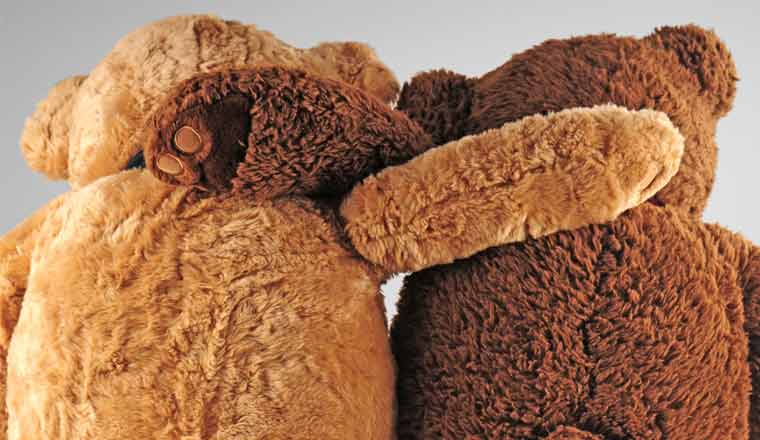 A picture of two teddy bears providing emotional support