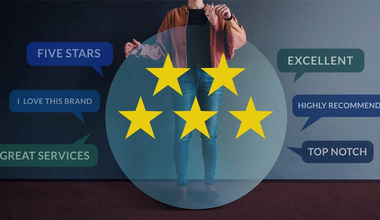 Happy Modern People Holding a Transparent Speech Bubble with Five Stars Rating and Positive Review on Card