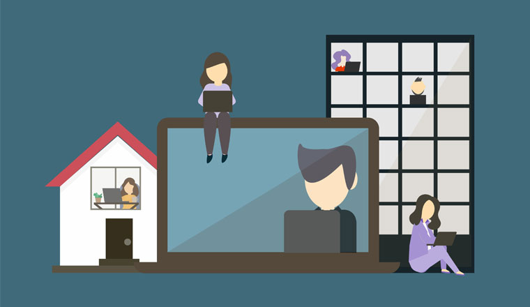 An illustration of a hybrid workplace with employees working from both office and home