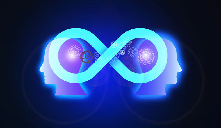 A picture of two neon heads connected by infinity symbol