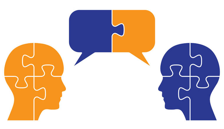 Puzzle shaped heads with puzzle shape communication bubbles