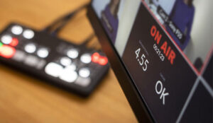 Professional equipment for live video streaming, monitor with split screen