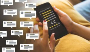 Consumer reviews in speech bubbles next to a smartphone review summary