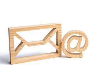 A picture of an envelope and and email symbol