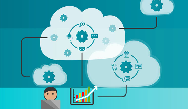 An illustration of a person with a laptop with cloud and icons above