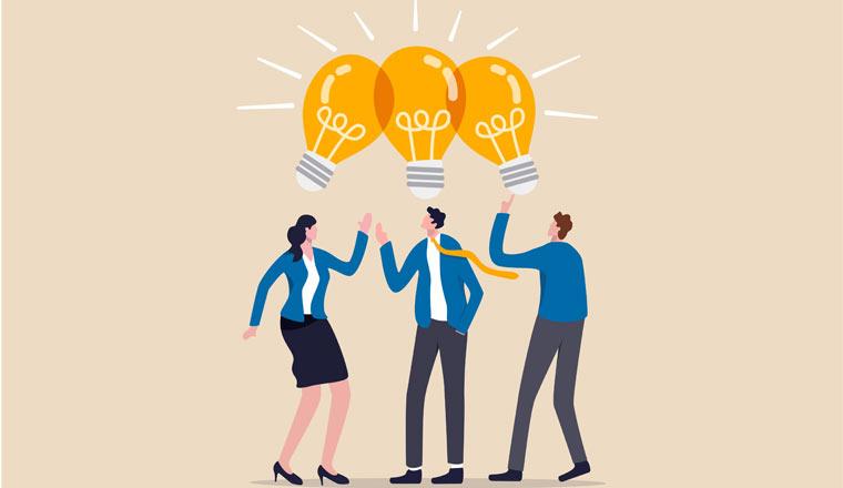 An illustration of three people sharing ideas