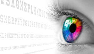Rainbow Color Eye Looking At Exam Chart