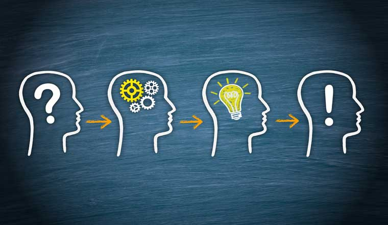 A picture of four heads showing problem, think, idea and solution