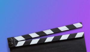 film slate on multicolour background