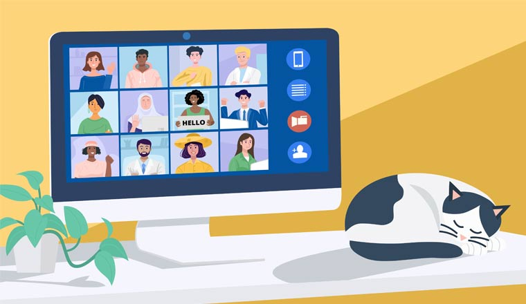 An illustration of a group video chat